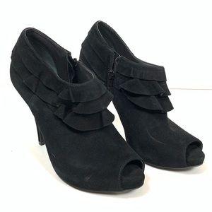 Gianni Bini Bootie Ruffles Peep Toe Suede Shoes